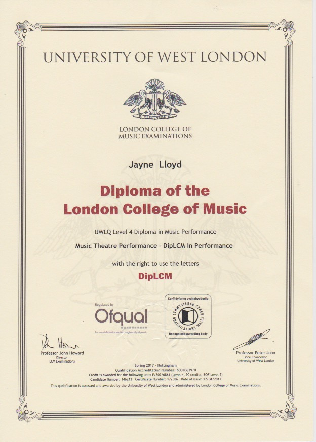 Jayne Diploma in Music