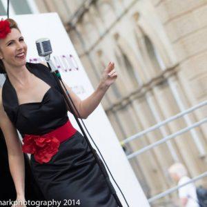 Jayne Darling peforms at Batley Vintage Day