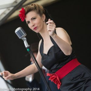 Vintage Vocalist Jayne Darling performs at Batley Vintage Day
