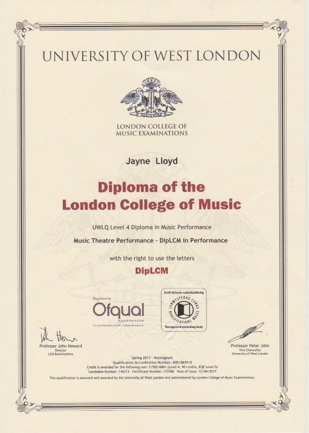 Jayne Diploma in Music