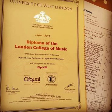 Diploma in Music Theatre Performance from the London College of Music